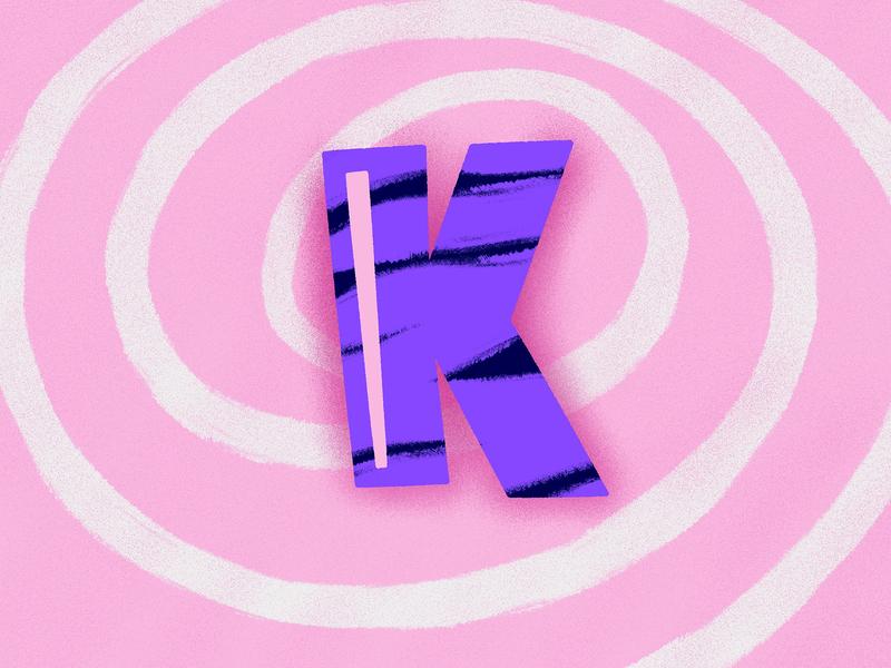 K procreate illustration art shapes dimension spiral purple pink design art art black 3d letter graphisme typography illustration type work design k