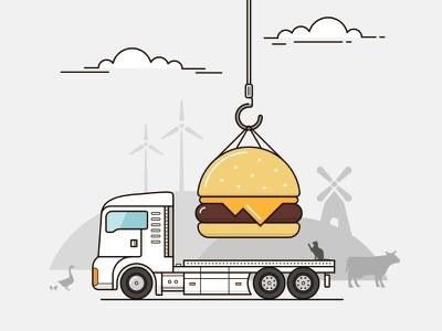 ParkIn - Burger-illustration pub parkin logotype illustration graphic-design four-buro four-bureau
