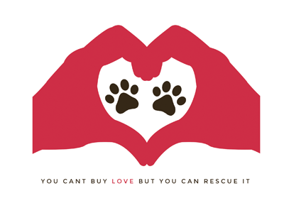 Rescue  logo logo design graphic design love paws pink hands dog rescue