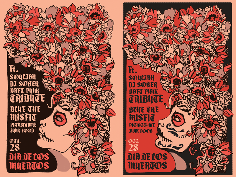 Dia de los Muertos Poster live music concert poster sugar skull day of the dead dia de los muertos illustrated poster illustration