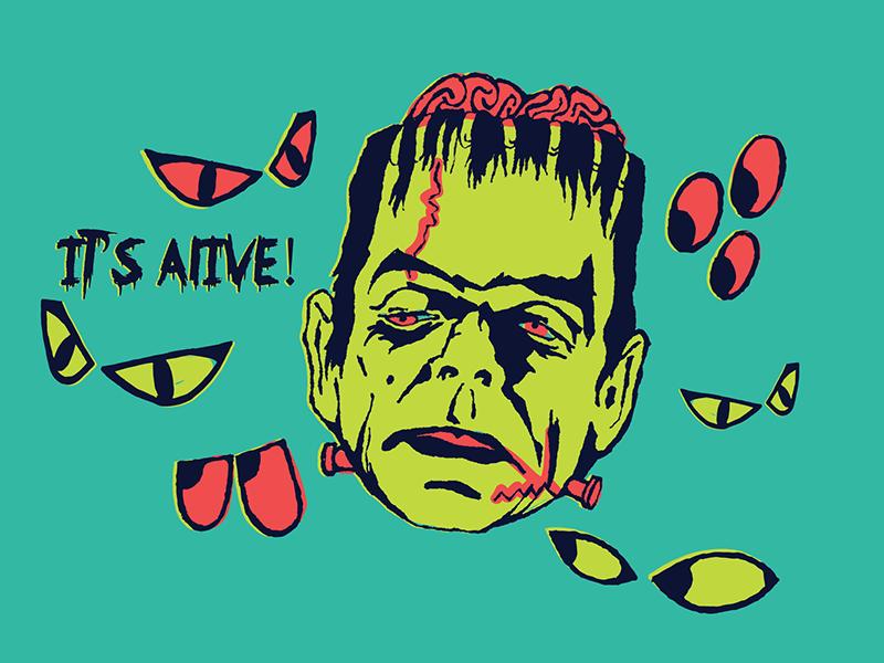 Frank N. Stein zombie undead brains fright creepy spooky frankenstein monster halloween