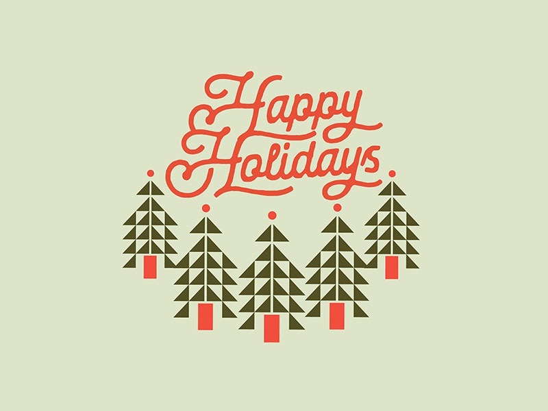 Holiday Card Exploration christmas trees geometric script scandinavian merry christmas holiday card happy holidays christmas holidays