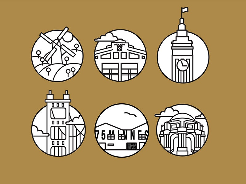 SF City Icons city icons icons fort mason golden gate park palace of fine arts dogpatch ferry building map illustration vector illustration city san francisco sf