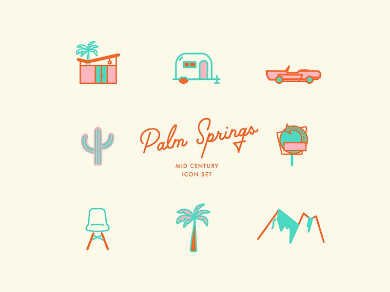 Come n git it midcentury style vintage retro palm desert midcentury modern creative market palm springs icon set icons palm springs