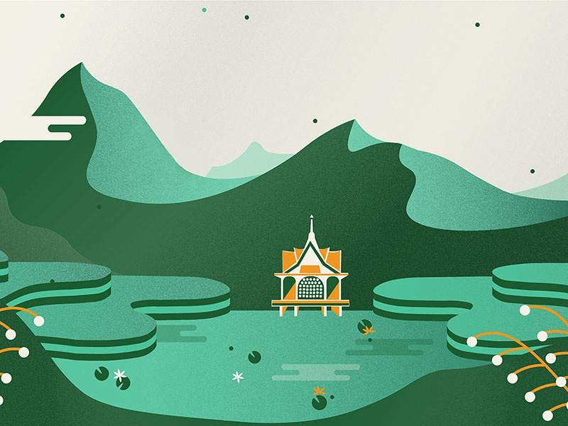 Little unused Thailand-inspired illustration rice field asia rice terraces lilypad thai illustration mural thailand