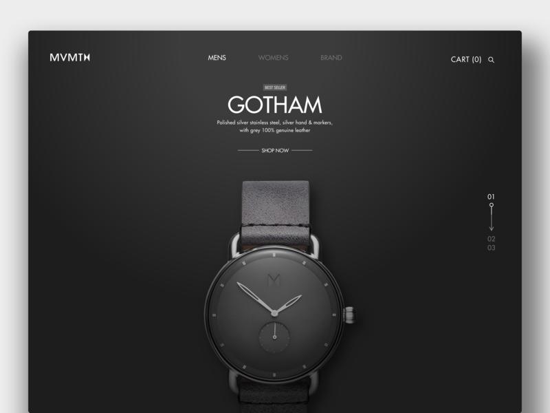 MVMT Gotham Watch brandon surya web landing page gotham clock web design website ecommerce product branding redesign watches mvmt watch commerce ux ui design ui