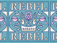Rebel Rebel Rosato Wine Label vector typography pastel illustration monoline gradient rebel grapes cbcoombs magical magic packaging vintage hand flower alchohol wine wine glass wine label