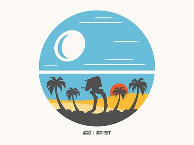 Star Wars Rogue One Licensing Art, 2015 licensing art licensing palm tree beach death star deathstar rogue one rogue star wars starwars at-st
