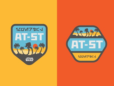 Star Wars Rogue One Licensing Art, 2015 at-st starwars star wars rogue rogue one beach palm tree icon patch badge licensing licensing art