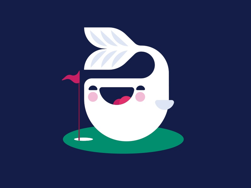Cute Challenge: Whale playing golf. drawing illustration adorable cute flag mini golf golf fish whale