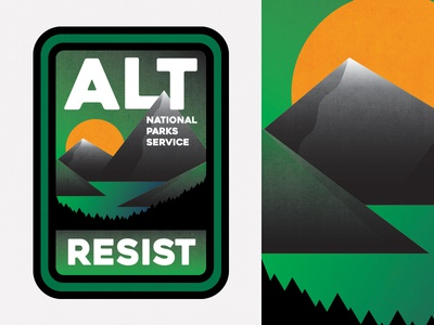 ALT National Parks Service Badge rogue ranger preserve protect national park park ranger resist mountains nature icon badge