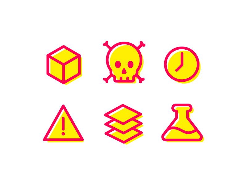 CAUTION! death hazard iconography danger warning science beaker cube clock skull icon caution