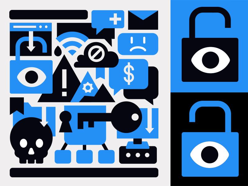 Ransomware Collage skull key cloud blue eye lock lockup collage icon virus hacker ransomware