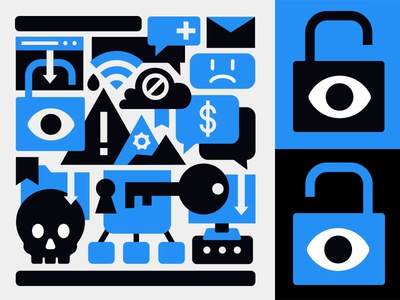 Ransomware Collage skull key cloud blue eye lock lockup collage icon virus hacker ransomware