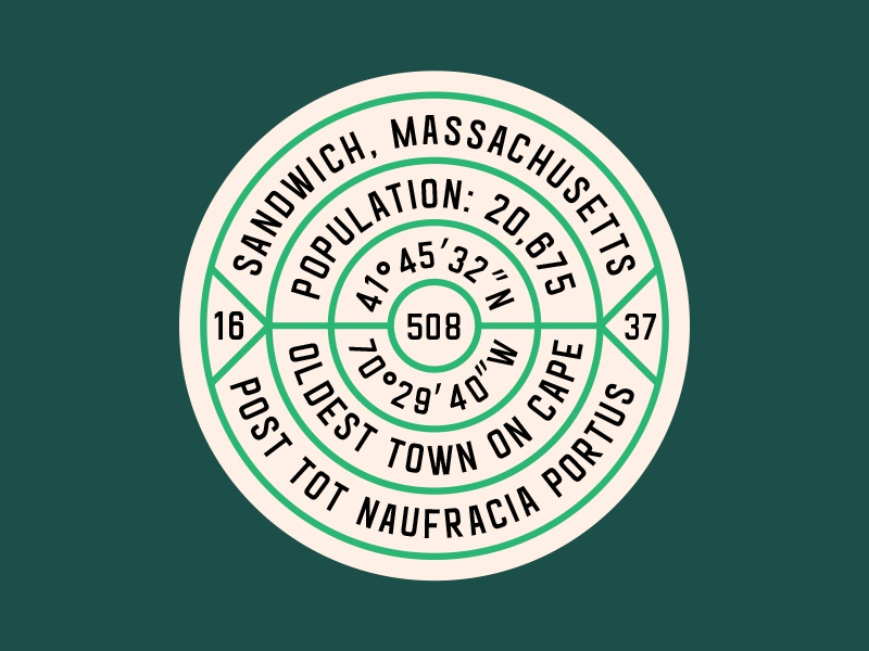 BSDS Hometown Pride Pin: Sandwich, MA cape cod massachusetts sandwich pride hometown illustrator logo badge pin bsds