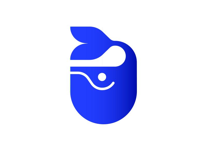 Chubby Whale blue icon tail animal ocean whale chubby little cute