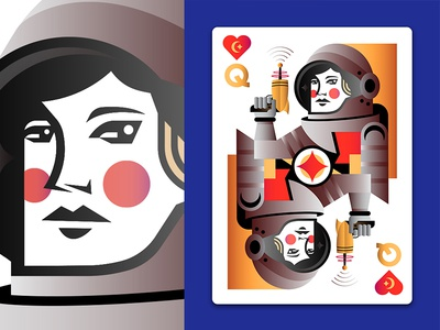Outer Space Playing Cards: Queen of Hearts sci-fi science future star astronomy moon space austonaut heart queen cards illustration