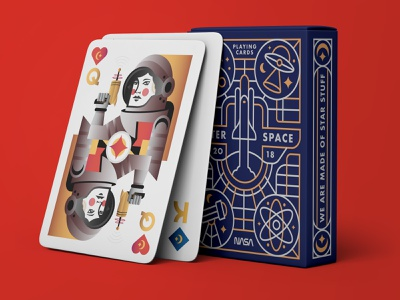 Outer Space Deck of Cards illustraion deck of cards cards astronomy astronaut gun stars moon orbit rocket design illustration typography spaceship space