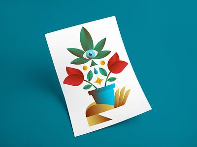 HomeGrown Illustration design planting gardening hand euphoria eye rose water plant illustration drugs weed pot plants vector illustration