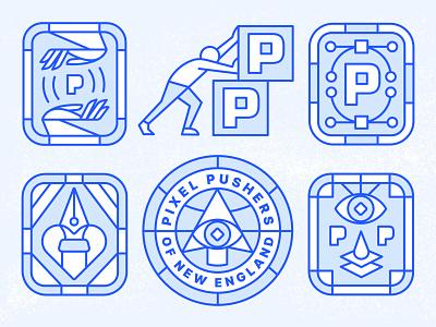 Pixel Pushers of New England identity human card layers pen tool anchor point bezier tool badge badge design cursor ritual secret society ilunimati pixel eye hand branding