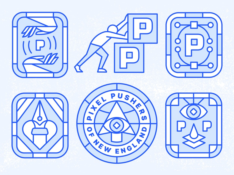 Pixel Pushers of New England identity human card layers pen tool anchor point bezier tool badge badge design cursor ritual secret society ilunimati pixel eye hand branding