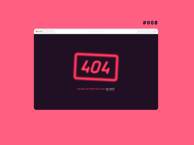 Daily UI 008 - 404 Page neon page not found error 404 404 page daily ui dailyui