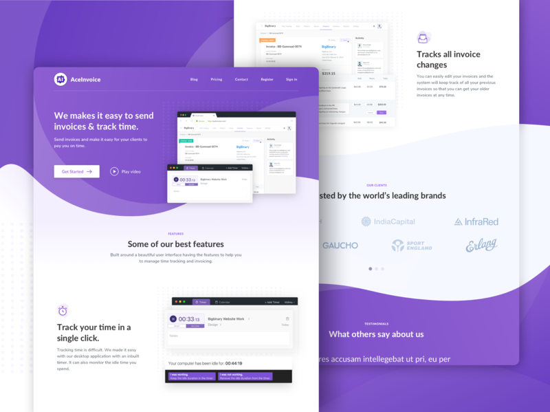 AceInvoice_Landing page web development web ux ui logo typography type tracking time reset record mac invoice branding flag design flat bigbinary app aceinvoice