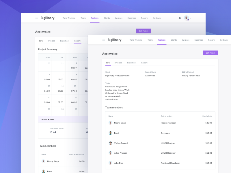 Project Dribbble Shot design bigbinary app aceinvoice ui