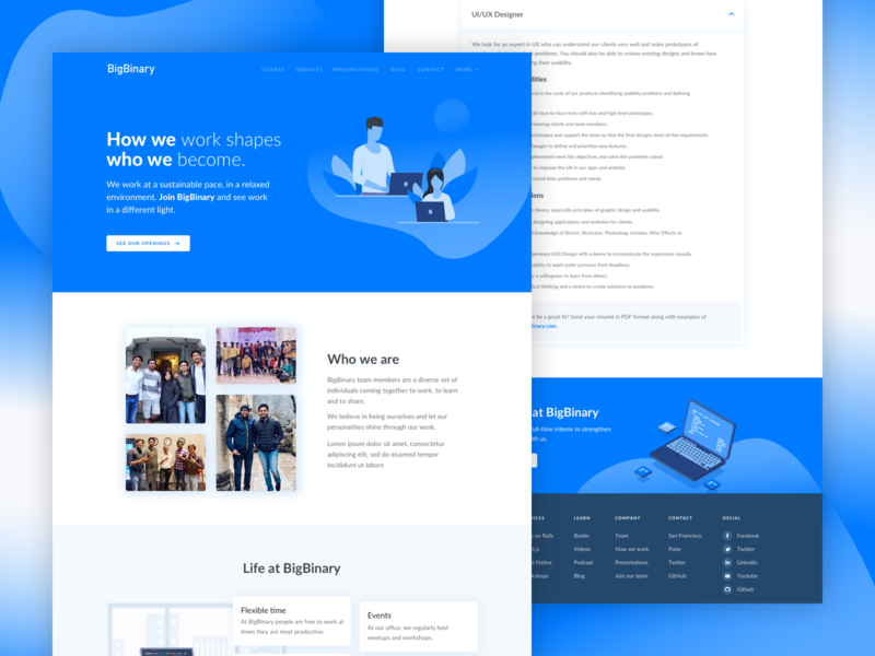 BigBinary career page design creative join our team careers page minimal vector attractions website illustration icon flat web ux logo typography branding design bigbinary ui