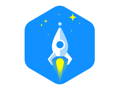 Rocket Icon ux ui vibrant bright clean minimal simple logo icon flat worryfreelabs