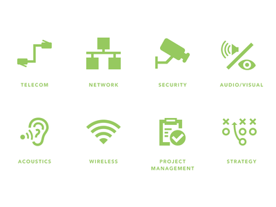 Teecom Icons V1 ui icons iconography green telecom security wireless strategy acoustics audio network