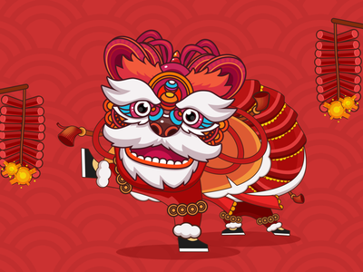 Chinese lion dance happynewyear chinese new year china liondance lion chinese illustration design