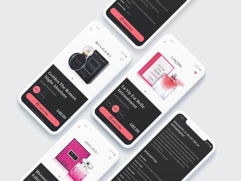 Perfume Shop App shop parfume app design app interface daily ui ui design dailyui