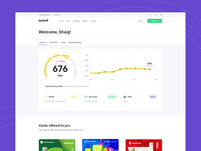 Bankoff Dashboard Design kredit carma card kredit bank score ui ux web insurance incurance bank app score dashboard