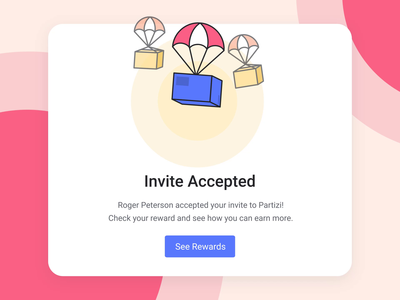 Invite Accepted! illustration branding referral invite rewards boxes balloons animation