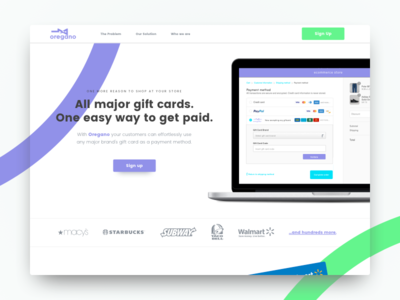 Website for Ecommerce Gift Card Payment Solution online payments gift cards storefront conversion online shopping playful colorful plugins store ecommerce landing page