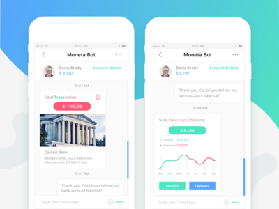 Moneta Bot - Mobile Application bot artificial intelligence finance bot bank bot chatbot finance app messaging app mobile app android ios conversational ui