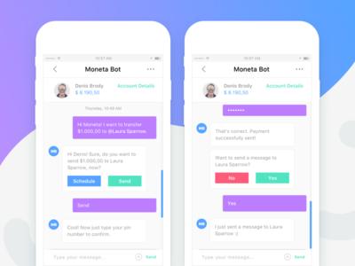 Moneta Bot - Mobile Application conversational ui bot artificial intelligence finance bot bank bot chatbot finance app messaging app mobile app android ios