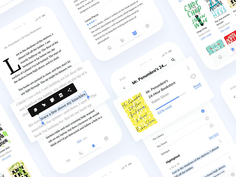 Reading App layout blue ui clean typography text reading read book app