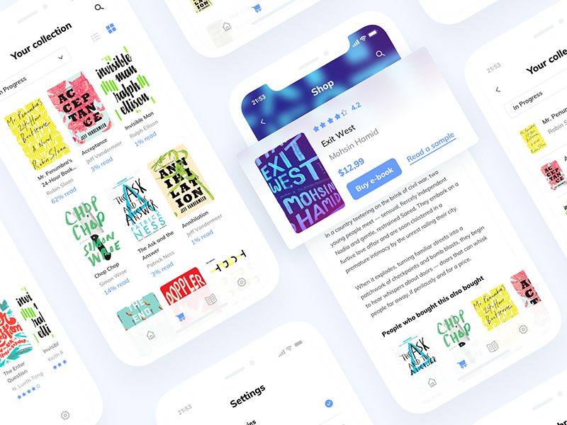 Reading App blur shop layout blue ui clean typography text reading read book app