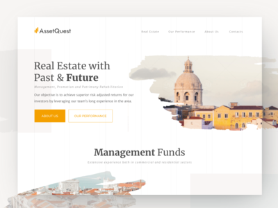 Real Estate Website property brush stroke rental patrimony website homepage house ux funds investment management real estate
