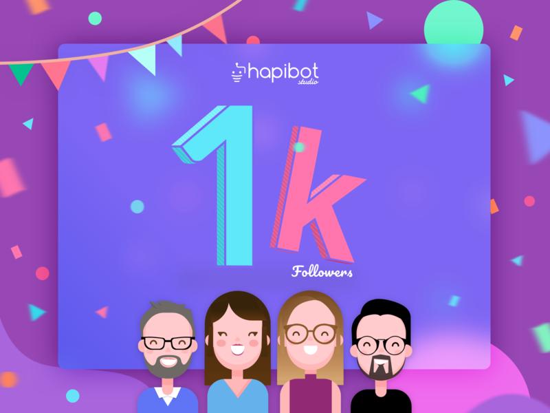 1000 Followers! Thank you! vector design happy ux ui team studio gradient curves celebration party avatars illustration colorful followers 1k 1000