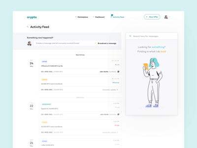 Cryptocurrency Marketplace - Activity Feed