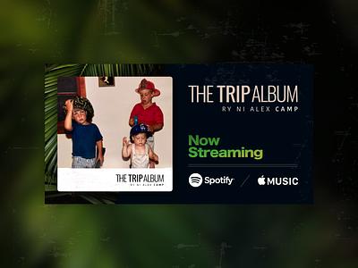 Album artwork for The Trip Album - Music by Alex Camp palms palm tree apple music spotify now streaming trip album music art art cover art album artwork