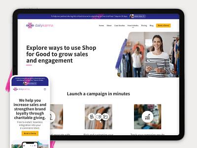 DailyKarma - How it Works page layout / ui design responsive web brush strokes karma desktop layout ui web design