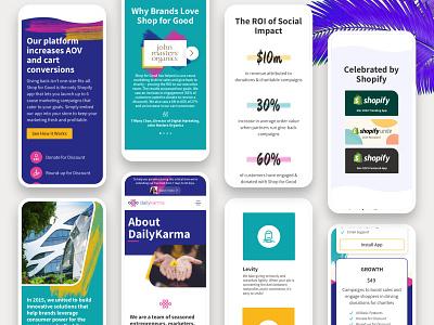 DailyKarma - Responsive / Mobile web layouts - ui design phone ui teal purple responsive mobile layouts mobile browser web design ui