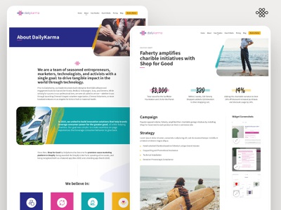 DailyKarma - About / Case Study - ui design ui ux branding icons grid teal purple web design ui desktop layout responsive web