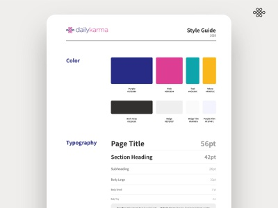DailyKarma - Preview of Style Guide - ui design ui design branding text styles color palette style guide