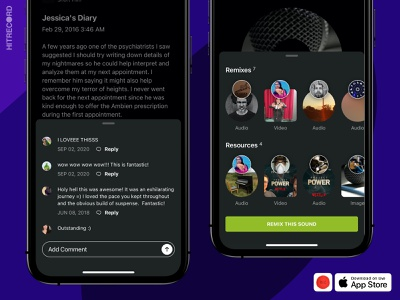 HITRECORD iOS App - Quick viewer - Comments UI, Remix overlays slide up panel overlay ui resources remixes thumbnail trays thread add comment comments ui ui app design ui design ios hitrecord