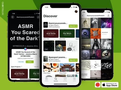 HITRECORD iOS App - New Discover tab for hashtags and series hitrecord grid ui contributions records projects production tags hashtag ui ui design
